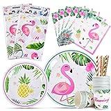 WERNNSAI Flamingo Geschirr Set - 82 PCS Tropical Hawaiian Party Zubehör für Mädchen Geburtstag Baby Shower Inklusive Tischdecke Platten Tassen Servietten Strohhalme 16 Gäste