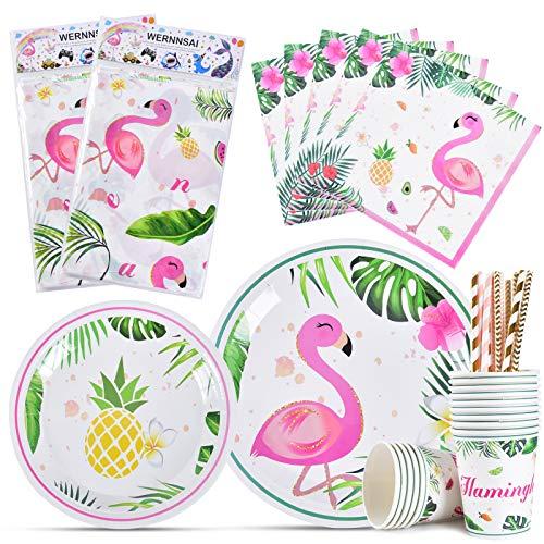 WERNNSAI Set de Vaisselle Flamant - 82 PCS Décoration de Fête Tropical Ananas pour Filles Anniversaire Baby Shower Comprend Assiettes Plaques Nappes Serviettes Pailles