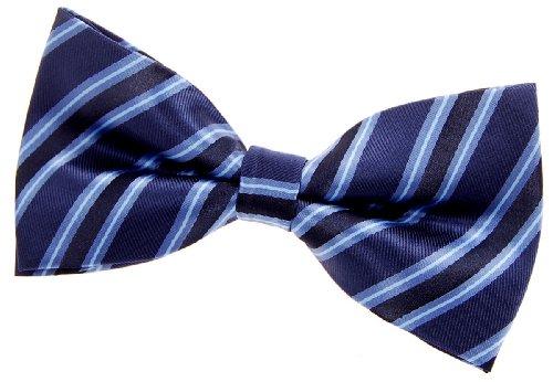 Retreez Herren Gewebte vorgebundene Fliege Preppy Gestreifte 13 cm - blau