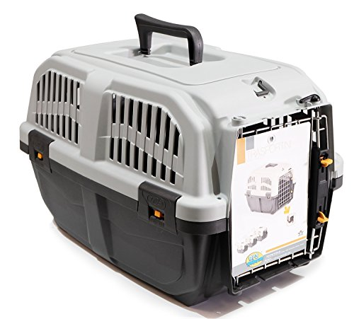 BPS (R) Transportín plástico para perros y gatos Mascota Caja de Transporte IATA 3 Tamaños para Elegir Color Gris/ Gris Oscuro 60* 40* 39cm Tamaño L BPS-4142
