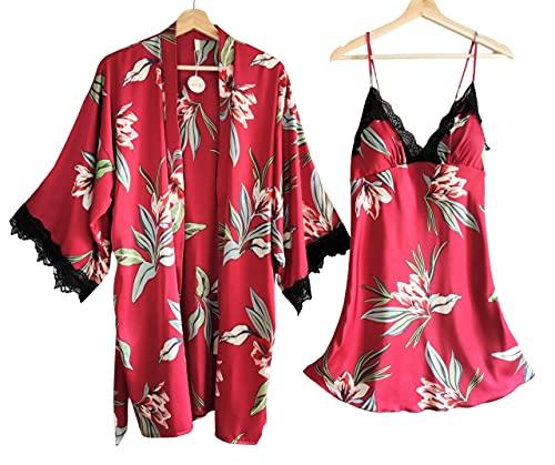 Laura Lily - Pijamas Mujer de satén Sedoso con Encaje Negro y Estampado Floral Conjunto de 2 Piezas (Rojo, M-L)