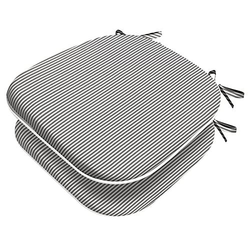 Joyside Outdoor Chair Cushions Patio Seat Cushions with Ties Set of 2 (Topanga Stripe Grey, 2)