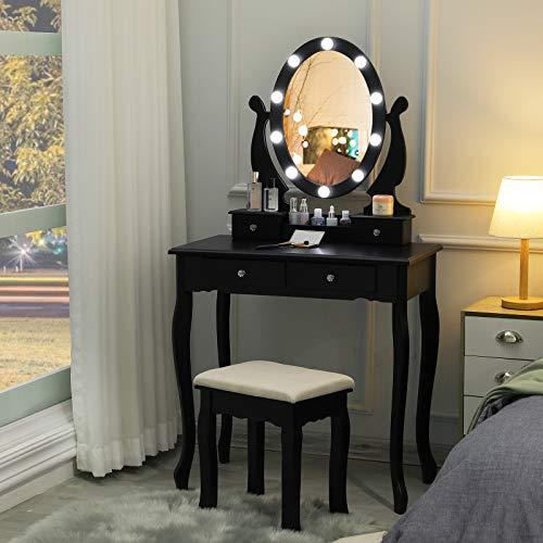 Tiptiper Coiffeuse avec Lumières LED et Miroir, Table de Maquillage avec Tabouret et 4 Tiroirs, Coiffeuse Enfants pour Chambre (Noir)