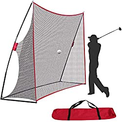 【Durable Construction】Our golf hitting net is built with strong poles base frame and durable 7 ply knotless netting, will last for years of use. Reinforced thick fiberglass pole uprights to all to absorb the impact of a golf ball. 【Professional Desig...