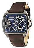 Police Reloj de hombre cuarzo analógico correa de cuero color marrón caja de acero dial azul 14698JSU/03