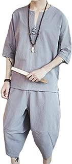 Men Summer Cotton Linen Short Sleeve Shirt Short Pants Fashion Outfit Comfortable Suit 2 Piece