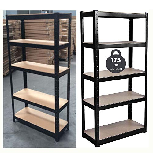 150cm x 70cm x 30cm 5 Tier Shelf, Steel & MDF Boltless Shelves, 875kg Total Capacity/175kg Per Shelf Garage shed Storage Shelving Units, 3 Year Warranty (Black)
