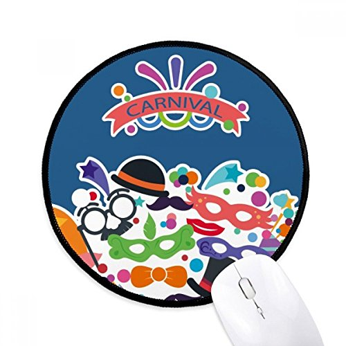 Bril Hoed Masker Gelukkig Carnaval Van Venetië Ronde Antislip Mousepads Zwart gestikte randen Game Office Gift
