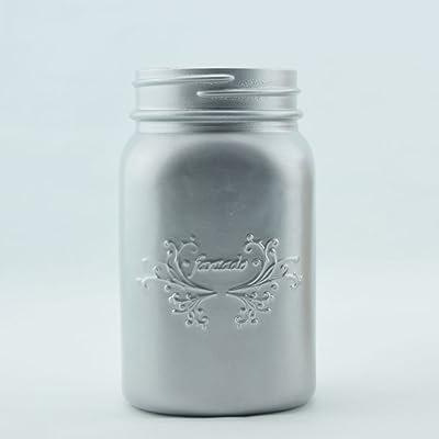 Fantado Wide Mouth Matte Silver Mason Jar w/Handle, 32oz by PaperLanternStore