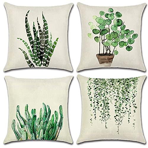 Artscope - Set di 4 federe decorative per cuscini, 40 x 40 cm, motivo foglie verdi impermeabili, perfette per esterni, patio, giardino, soggiorno, divano, casa