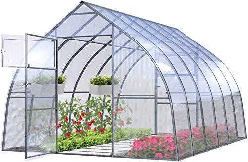 Gewächshaus Groß Drop 20' 3x12m StahlRahmen Garten Treibhaus Pflanzenhaus 36M² mit 4mm Polycarbonat - Modelle und Größen Verschiedene