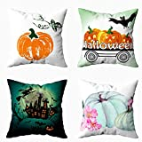 Musesh 4 Fall Pillow Covers, Pack 4 Happy Halloween Scary Horror Castle for Sofa Home Decorative Pillowcase 20x20Inch Pillow Covers Autumn Thanksgiving Day Halloween Day Home Décor