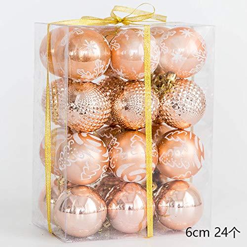 QZXCD Kerstbal creatieve licht gouden champagne goud kerstbal handgeschilderde golfbal kerstboom ornament plafond decoratie hanger pakket