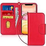 FYY Handyhülle für iPhone 11 6.1, iPhone 11 Hülle, Lederhülle mit Standfunktion & Kartenfach TPU Innenraum und [RFID-Schutz] Handytasche für Apple iPhone 11 6.1 Zoll (2019)-Rot