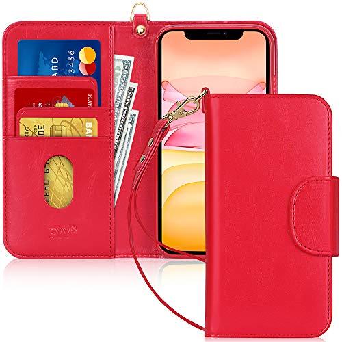 Capa de Celular FYY, Couro PU, Suporte, Compartimentos para Cartão, Bolso para Notas, Compatível com Iphone 11 - Vermelho