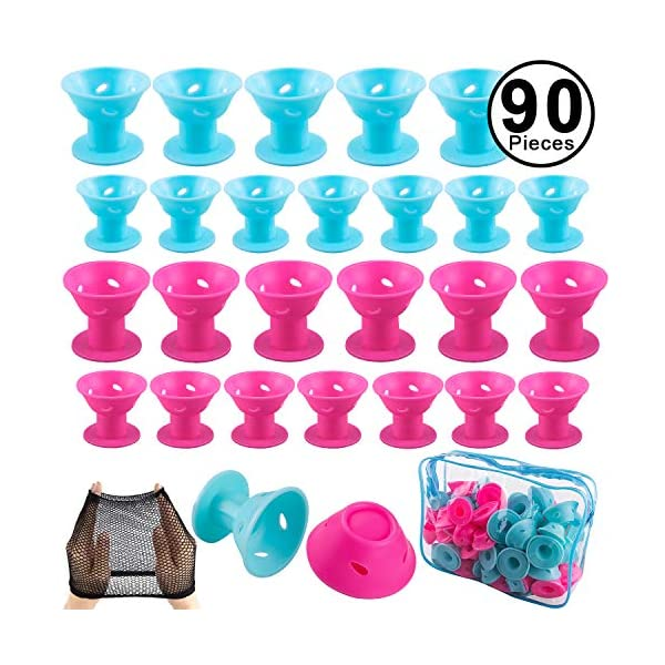 Beauty Shopping SIQUK 90 Pcs Hair Rollers Silicone Blue and Pink Hair Curlers Set Including 44 Pcs