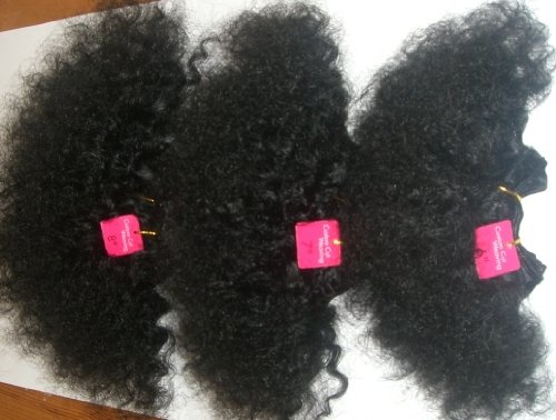 100% Human Hair, Super Soft Afro Weave. 3 Piece Set. Colour 1B, Natural Black. Short afro 4'', 5'' & 6inches length