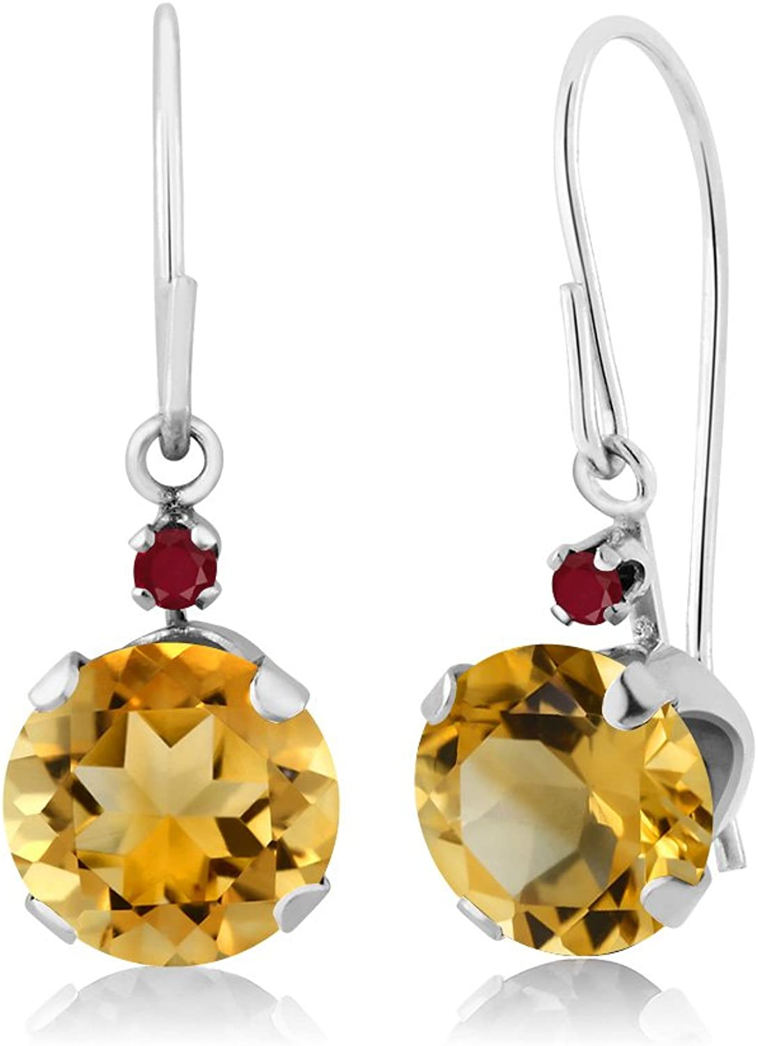 1.44 Ct Round Yellow Citrine Red Ruby 14K White gold Earrings