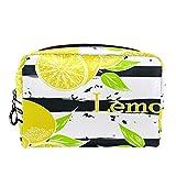 Bolsa de cosméticos Bolsa de Maquillaje para Mujer para Viajar para Llevar cosméticos, Cambio, Llaves, etc.Raya de Limones de Dibujos Animados de Frutas