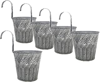 Leoyoubei Vintage Feel 4.25''Diameter-5 Pack Metal Iron Flower Pot Vase Wall Fence Hanging Balcony Garden Patio Planter Home Decor-Artificial Flower pots Vase Decoration Gray