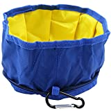Plegable portátil Perro Cuenco Tazón - para Perros Medianos a Grandes, Comedero con mosquetón para Mascotas Bebedero de Viaje Plato para Caminar Camping alimentación y riego(Azul)