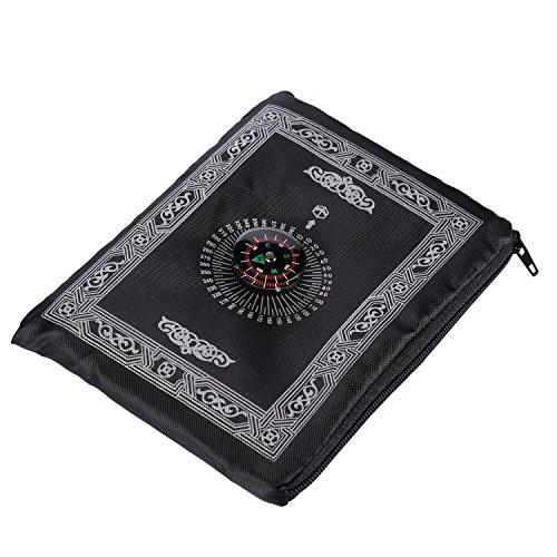 Hitopin tragbarer, schwarzer Muslim-Gebetsteppich mit Kompass in Taschengröße, Gebetsmatte mit Qibla-Finder und Büchlein, wasserfestes Material, HPUK-PBMk.