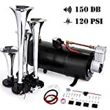 Train Horn Kit Car Air Horn 4-Trumpet Kit Set Compressor for Almost Any Vehicle Trucks Car 150 DB (Black)