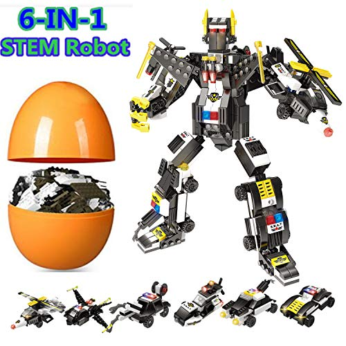 6-in-1 Robot Building Toy, 526 Pcs Creative Building Blocks Kits for 6, 7, 8, 9, 10, Construction Building Toys for Boys & Girls Ages 6yr-14yr, Best Easter Eggs Toy Gift for Kids (Transforming Robot)