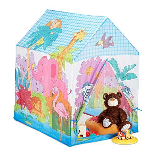 Relaxdays Spielzelt Dschungel Tiere, f. Kinderzimmer, Outdoor, ab 3, Stoff, Safari Kinderzelt HBT 102 x 72 x 95 cm, bunt