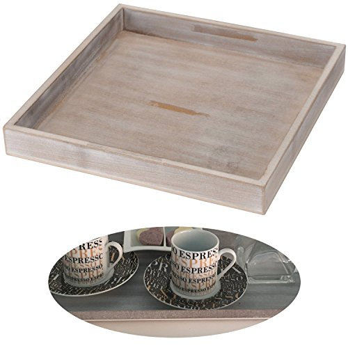 LS-LebenStil Holz Deko-Tablett Grau 30x30cm Serviertablett Teelichthalter Kerzen-Teller Schale