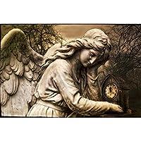 大人のための愛好家のための数字キットによる5Dダイヤモンド絵画家の壁の装飾のための芸術ラウンドフルドリル刺繡図-泣いている天使-60x60cm