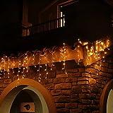 Eisregen Lichterkette Außen 400er LED 10m, LED Lichtervorhang mit Timer, IP44 wasserdicht 8 Modi für Innenausstattung Außenbereich Schlafzimmer Hochzeit Weihnachten Party (Warmweiß)