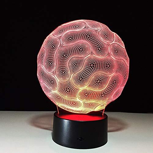 hqhqhq Brain 3D Lámpara de Mesa Dormitorio Luz de Noche Decorativa 16 Colores Cable USB Botón táctil Inteligente Luz de Mesa de Escritorio LED Regalo para niños con Mando a Distancia -1314