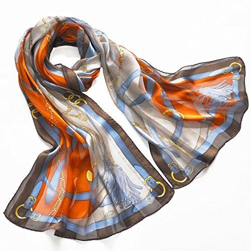 SALY dames 100% zijden sjaal luxe satijn grafische geschilderde sjaal wraps