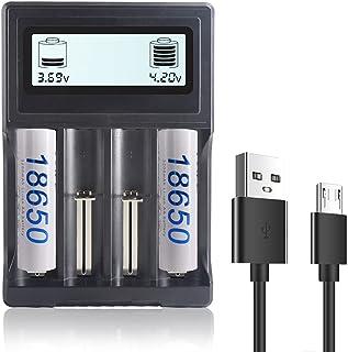 Carregador de 4 baias 18650 Carregador de bateria de íon-lítio rápido 3,7 V para 18650 26650 22650 26500 18490 17670 17500...
