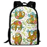 Schulrucksack, Faultier Bär Tierfiguren In Blumen Schultasche Student Stilvolle Unisex Canvas Rucksack Schultasche Rucksack Daypack Für Teen Kids