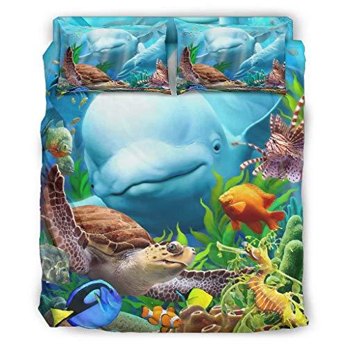 Hothotvery Juego de ropa de cama de 4 piezas con diseño de orca y ballena de asesino, transpirable, juego de ropa de cama de Navidad, funda nórdica y rodillos, color blanco 2 240 x 264 cm