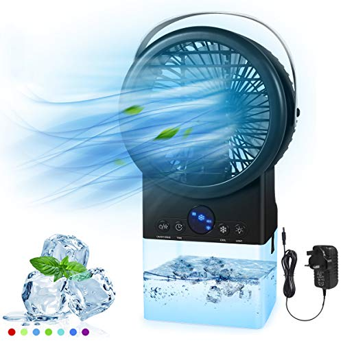 Portable Air Conditioner Fan, Personal Space Air Cooler Desk Fan, Handle Design Medium Evaporative Cooler, Timer 3 Speeds Humidifier Misting Cooling Fan with 7 Colors Lights for Home Office Dorm Room
