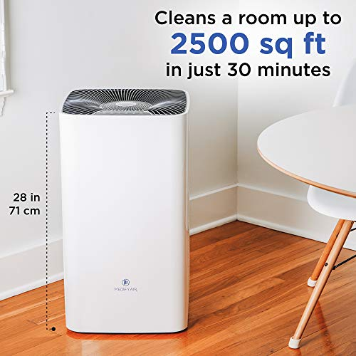 Medify Air MA-112 V2.0 Air Purifier with H13 HEPA Filter - a Higher Grade of HEPA | Covers 2,400 sq ft - Allergies, Smog, Odors, Smoke, Pets Dander, Dust | Dual Intake with 2 Filters | White, 1-Pack