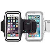 [2pack] Water Resistant Sports iBarbe Armband with Key Holder and Night Reflective for iPhone X 8 Plus 7 Plus, 6 Plus, 6S Plus,Galaxy s8,s8+,S6/S5, Note 4 etc.Running Exercise (Black+Silver)