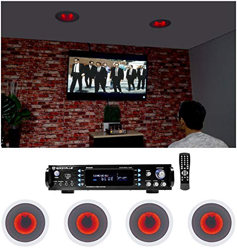 Discover Bargain Rockville Home Theater Bluetooth Receiver+(4) in-Ceiling 8 Red LED Speakers