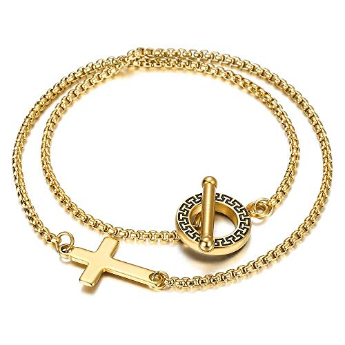 CHIY-GBC Double Strand Box Chain Cross Charm Bracelet for Women Men Gold Color Stainless Steel Unique T Design Toggle Clasp 7'