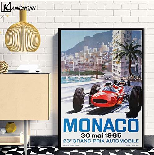 LGXINGLIyidian Cartel De Arte Super Racing Car F1 Monaco Retro Motor Carteles E Impresiones Cuadro De Pared Lienzo Pintura Sala Decoración del Hogar Y1165 40x50Cm