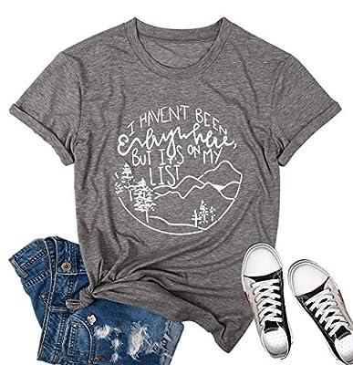 Women Camping T Shirts Hiking T Shirts I Haven't Been Everywhere Cute Tshirt Hike Outdoors Short Sleeve Tee Top Grey