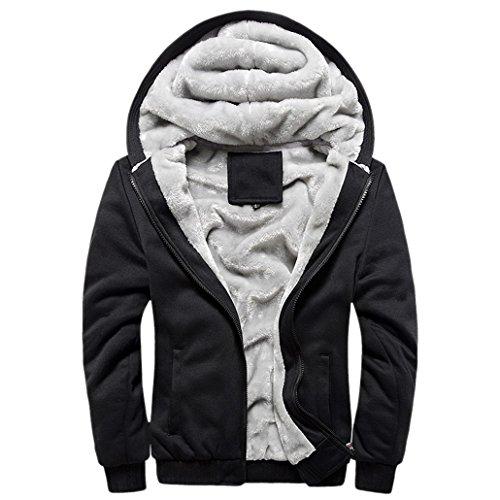 Panegy - Veste à capuche pour homme - En laine polaire - Bleu - Noir - moyen