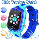 [IP67 Waterproof Phone Watch] Smartwatch for Kids, GPS Tracker with SOS Alarm Clock Game Wrist Smart Watch for Girls Boys Student Children Birthday Toys School Travel Outdoor (Blue)
