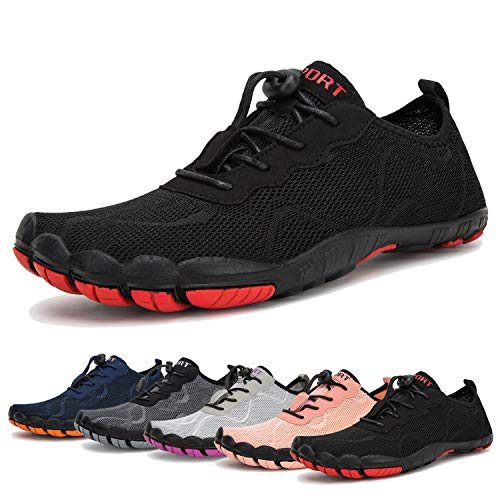 Water Shoes for Men and Women Barefoot Quick-Dry Aqua Sock Outdoor Athletic Sport Shoes for Kayaking, Boating, Hiking, Surfing, Walking (A-Black, 44)