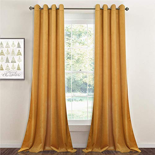 StangH Yellow Velvet Curtains 96 inches - Kids Room Velvet Privacy Drapes Light Blocking Grommet Curtains for Drawing Room/Hall, Warm Gold, 52 by 96 Inches, 2 Panels
