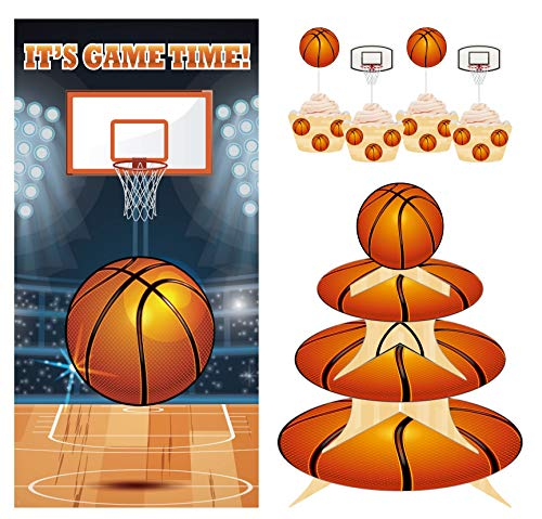 3 Tier Cupcake Stand | Basketball Theme | 30 Cupcake Liners | 30 Cupcake Toppers | 1 Backdrop Banner