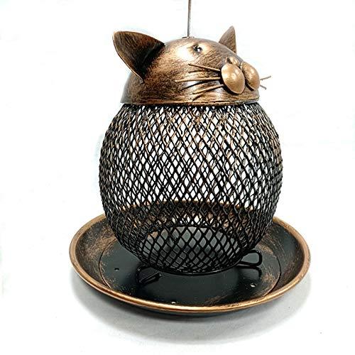 Zhandou Alimentador de pájaros de estilo antiguo, comedero de pájaros con jaula de metal al aire libre, comedero de pájaros en forma de cabeza de gato, estructura resistente, fácil de limpiar